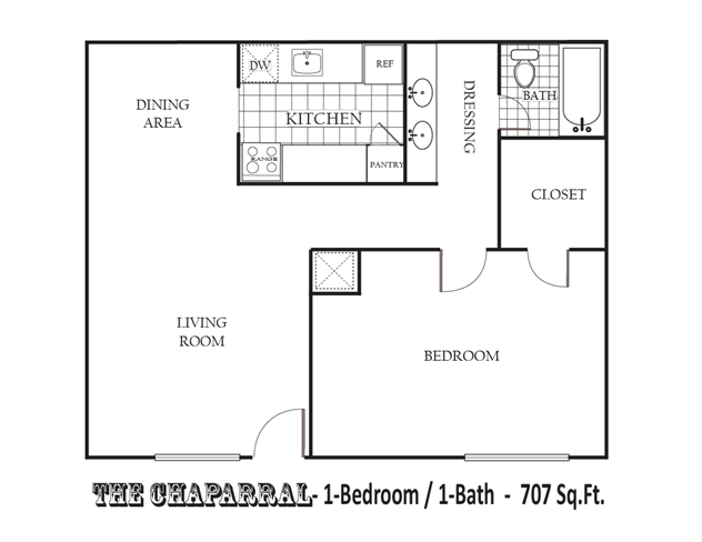 707 sq. ft. 80% floor plan