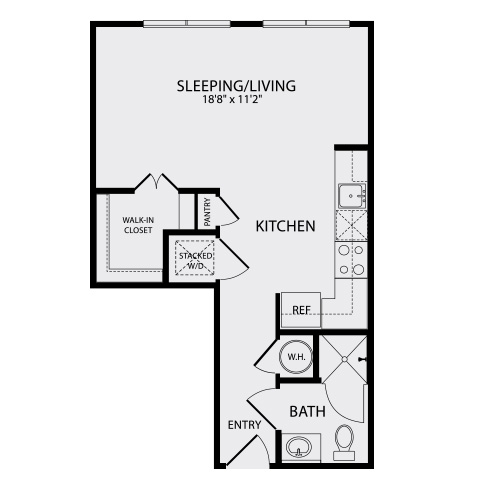 499 sq. ft. A0 floor plan