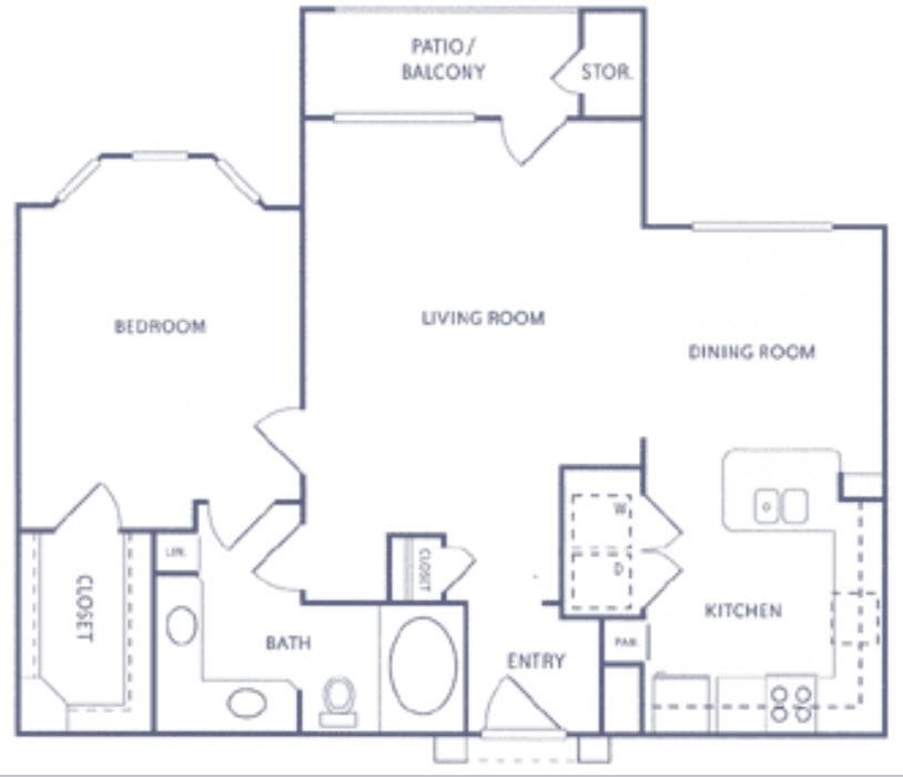 989 sq. ft. A2b floor plan