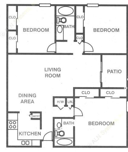 1,241 sq. ft. C-1 floor plan