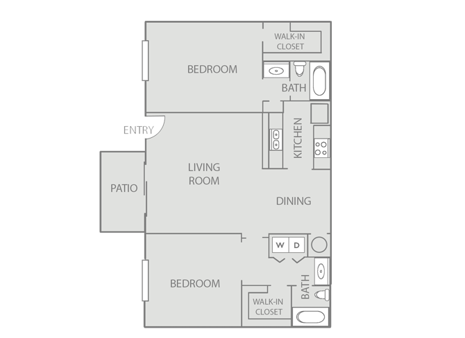 1,025 sq. ft. Newport/50% floor plan