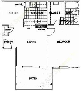 635 sq. ft. B floor plan