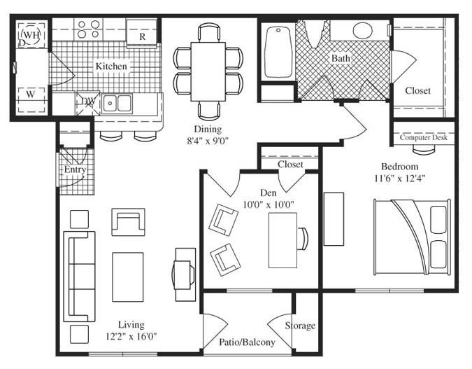 954 sq. ft. Keenland floor plan