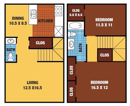 1,054 sq. ft. 60% floor plan