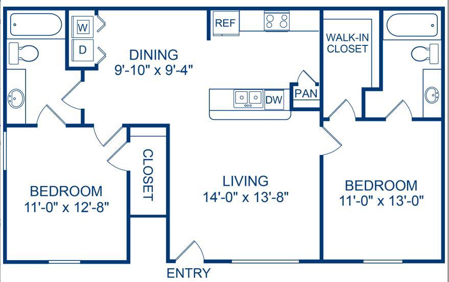 944 sq. ft. Pecos floor plan
