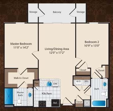 947 sq. ft. C1/Kimbell floor plan