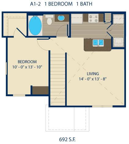 893 sq. ft. HAYNES floor plan