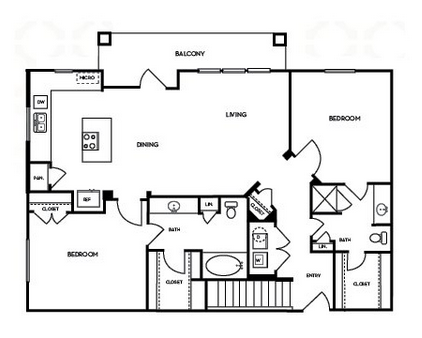 1,199 sq. ft. B2.4G floor plan