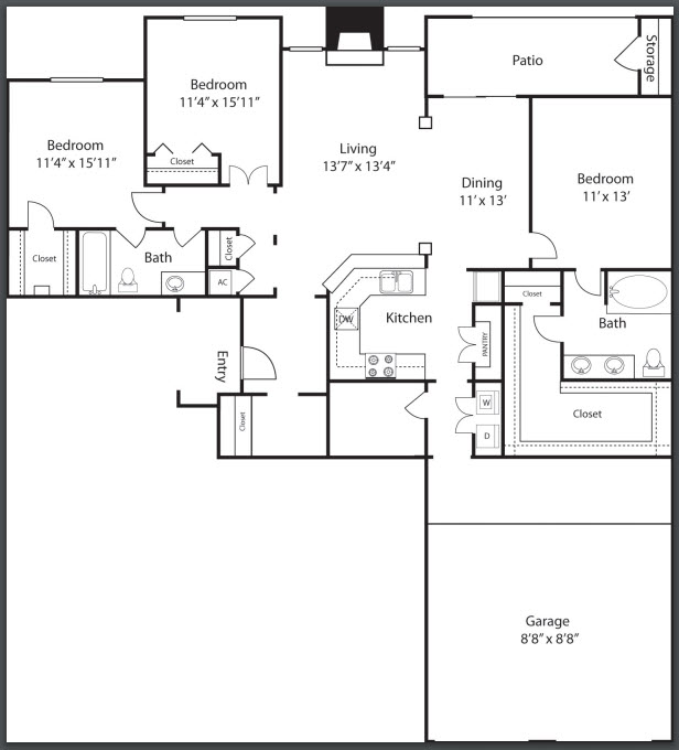 1,585 sq. ft. C3 floor plan
