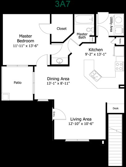 815 sq. ft. to 1,095 sq. ft. 3A7t floor plan