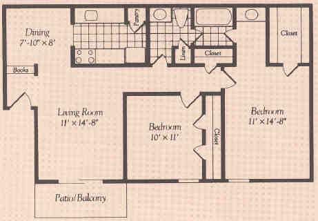 887 sq. ft. floor plan