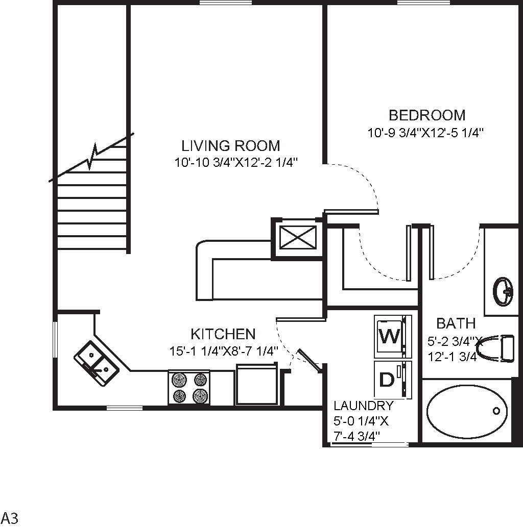 735 sq. ft. 11C floor plan