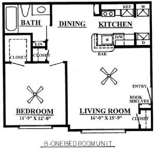 653 sq. ft. A2/60% floor plan