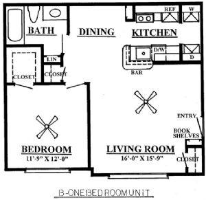 653 sq. ft. B 60% floor plan
