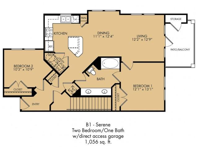 1,056 sq. ft. Serene floor plan