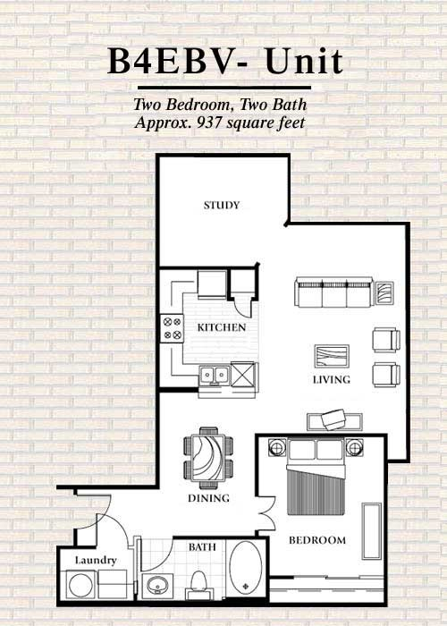 937 sq. ft. to 1,127 sq. ft. B4 floor plan
