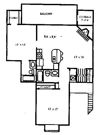 1,014 sq. ft. B2 floor plan