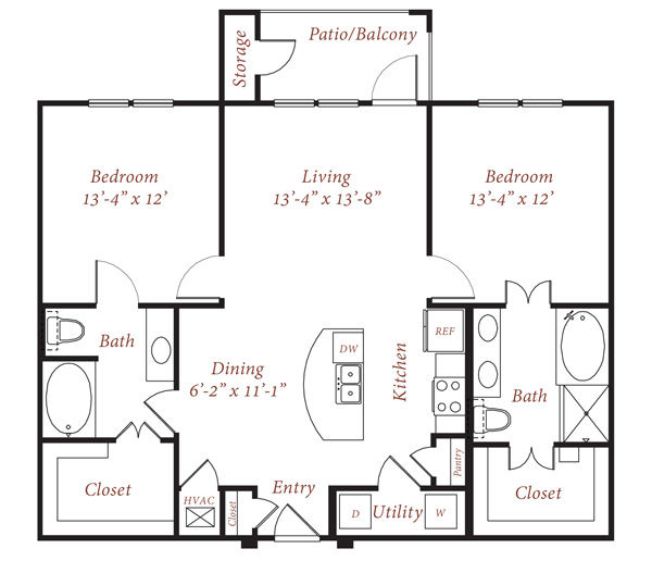 1,152 sq. ft. B2 floor plan