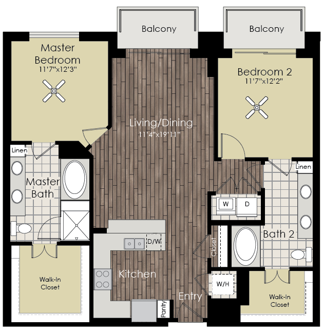 1,261 sq. ft. to 1,289 sq. ft. B5 floor plan