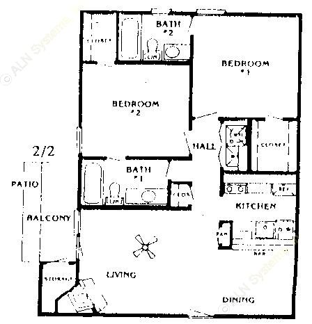 950 sq. ft. Dogwood floor plan