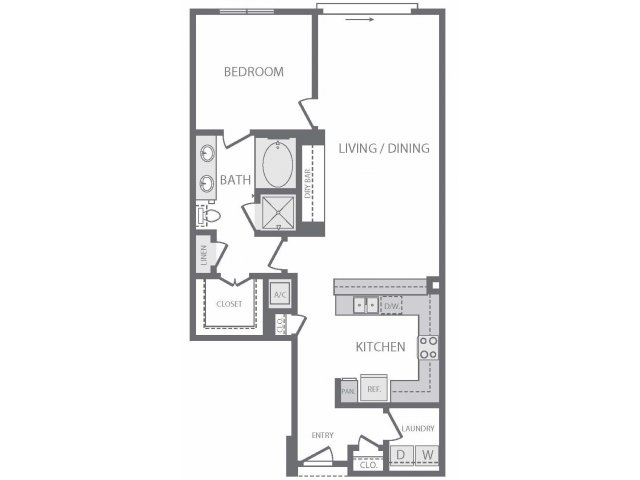 961 sq. ft. A13 floor plan
