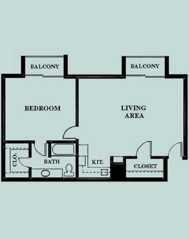 820 sq. ft. Luxury 1 floor plan