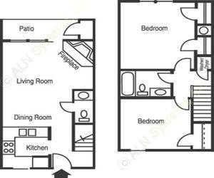 825 sq. ft. B1/Arboretum floor plan