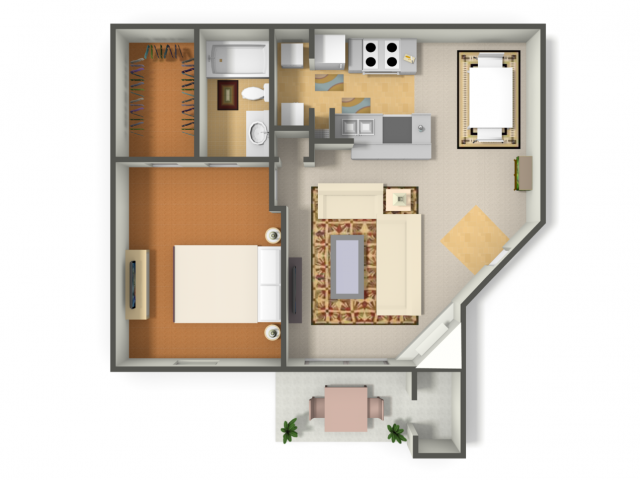 805 sq. ft. One Bedroom  (A2) floor plan