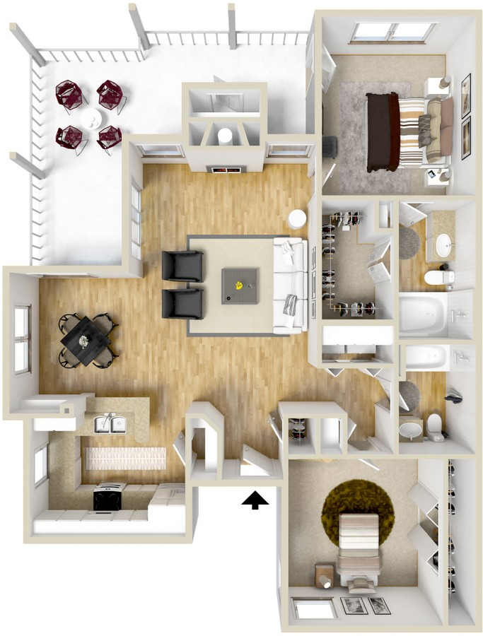 1,093 sq. ft. Milano floor plan