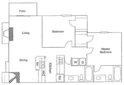 887 sq. ft. B3 floor plan