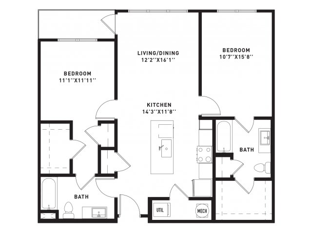 1,075 sq. ft. B3 floor plan