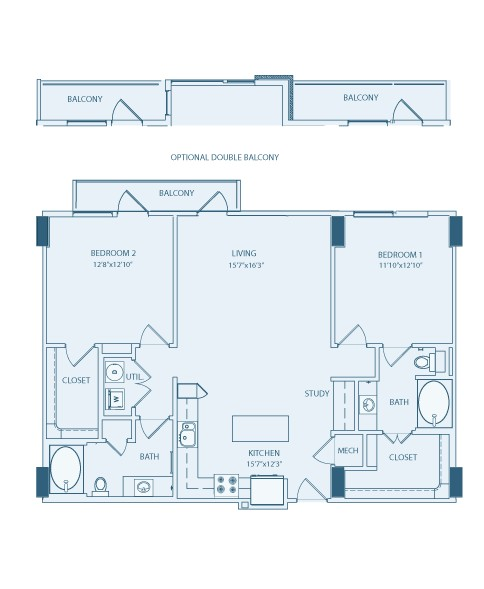 1,237 sq. ft. to 1,290 sq. ft. B3 floor plan