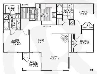 1,395 sq. ft. C1/DEL RIO floor plan