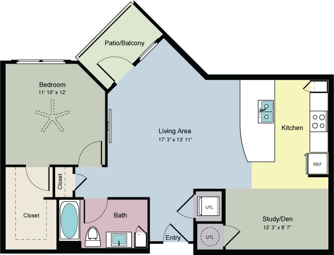 852 sq. ft. Climb (A1FD) floor plan