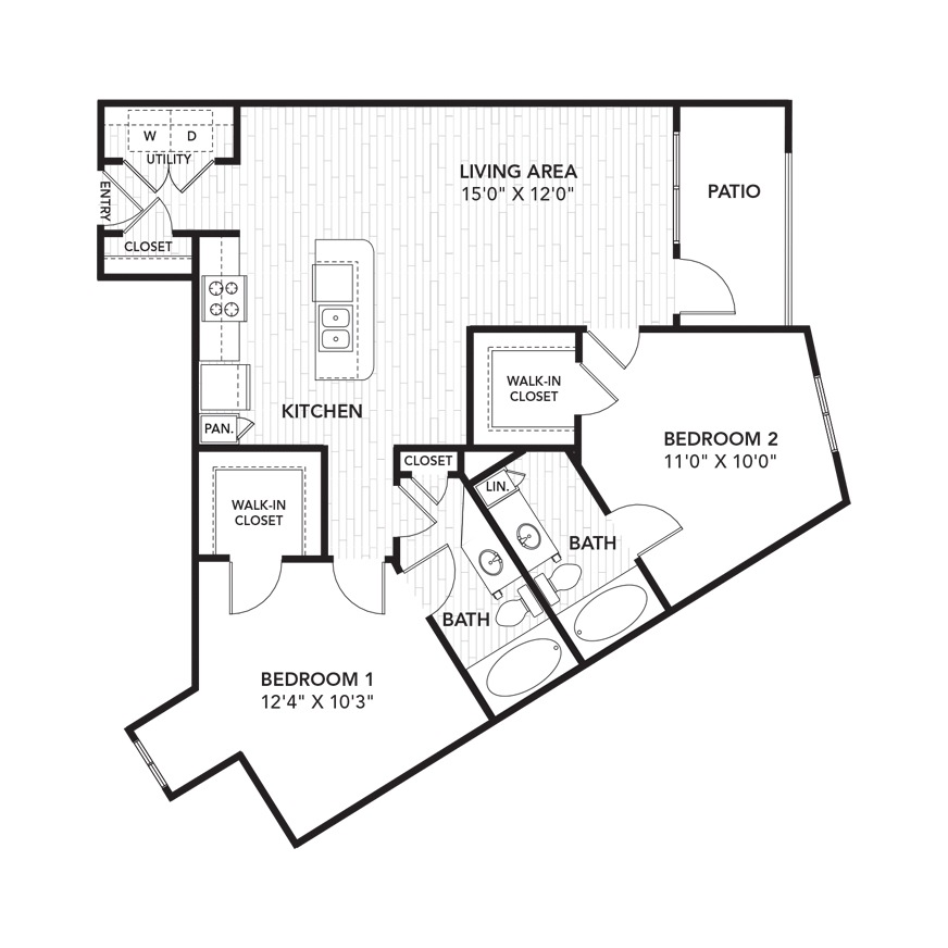 1,104 sq. ft. B4 floor plan