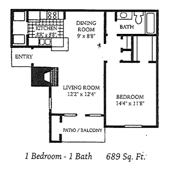 689 sq. ft. A2 floor plan