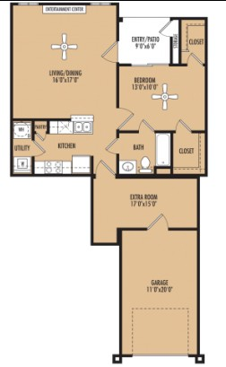 1,000 sq. ft. Harmony w/Garage floor plan