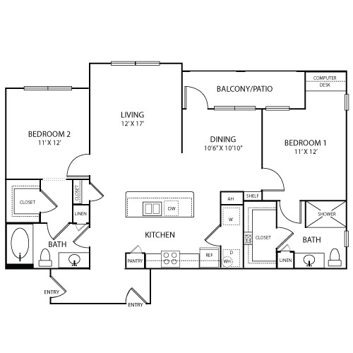 1,222 sq. ft. ST TROPEZ floor plan