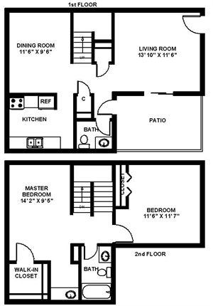 1,133 sq. ft. Two TH floor plan