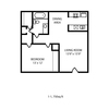 750 sq. ft. A2 floor plan