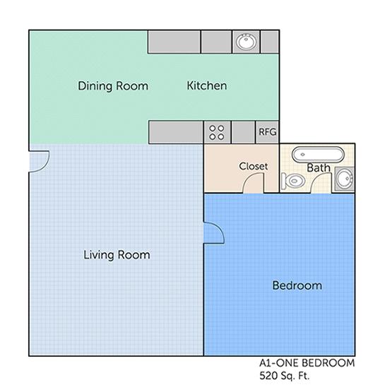 520 sq. ft. A1 floor plan