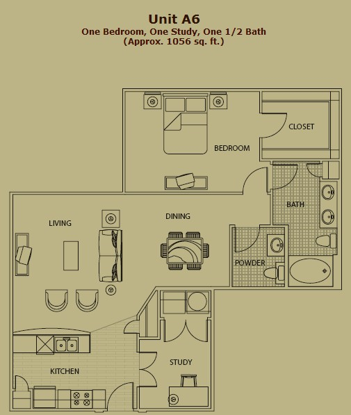 1,075 sq. ft. A6 floor plan