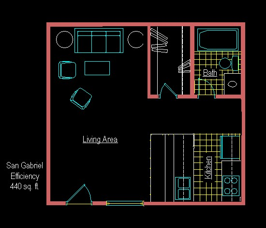 440 sq. ft. EFF C floor plan