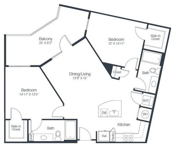1,071 sq. ft. B2D floor plan