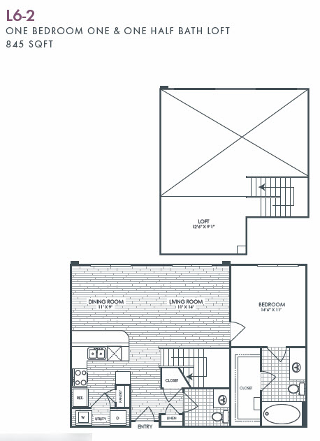 845 sq. ft. L6-2 floor plan