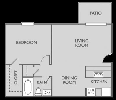 616 sq. ft. A2 floor plan