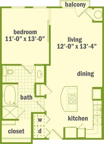 749 sq. ft. A1 floor plan