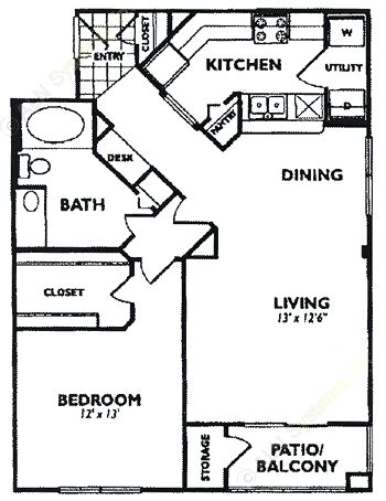851 sq. ft. A6 floor plan