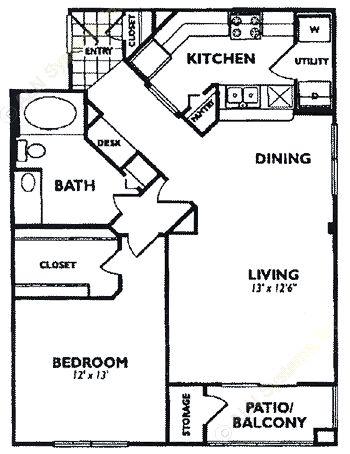 851 sq. ft. A6 floor plan