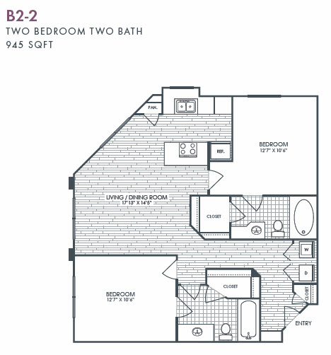 945 sq. ft. B2-2 floor plan